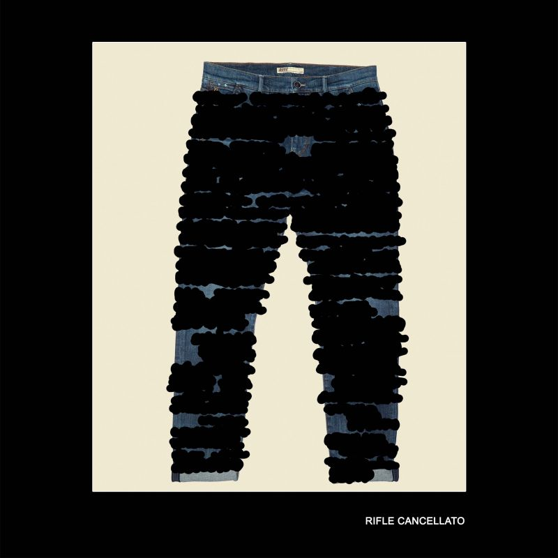 Rifle jeans by Giovanni Gastel, inspired by 'Cancellatura' of Emilio Isgrò.