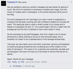 Screenshot of one of Topshops' answers to Laura Berry on FB