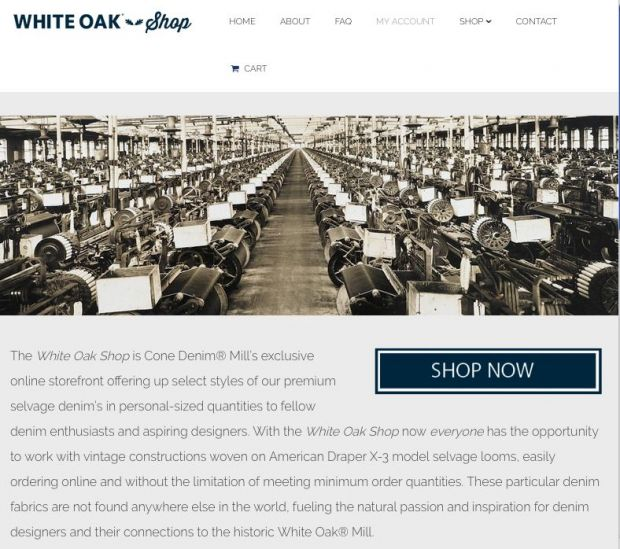 Screenshot from Cone Denim's new White Oak web shop