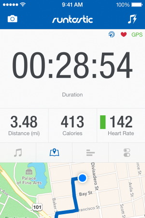 Screenshot of the Runtastic app