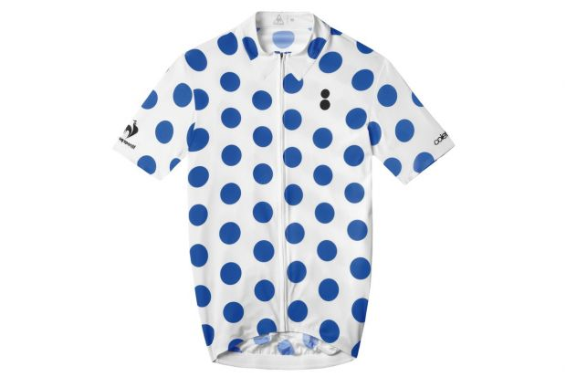Special edition top with blue macro polka dots print