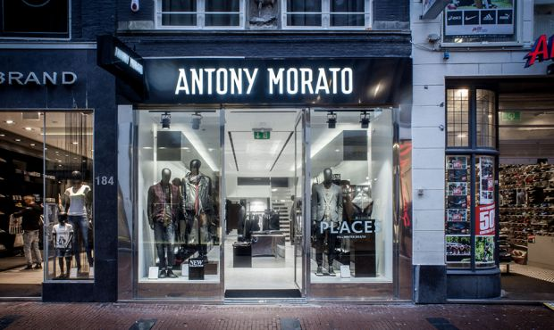 Storefront of the Antony Morato store in Kruiskade 68, Amsterdam