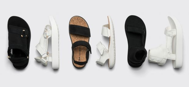Composition of the three sandal styles
