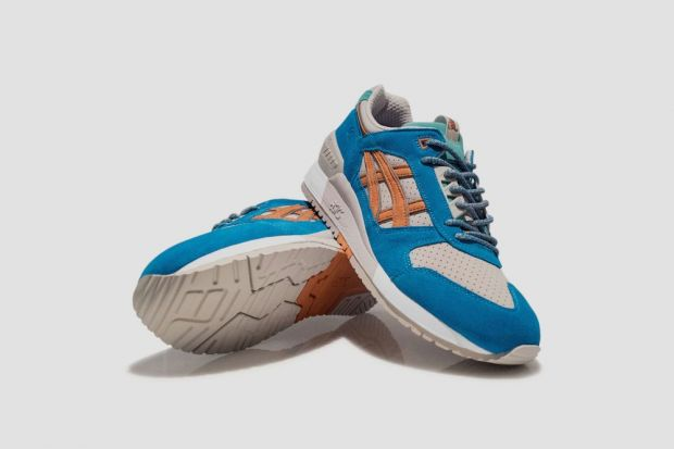 The Asics X Patta Gel-Respector is made of perforated, light grey suede with contrasting accents in orange, methylene blue and navy green