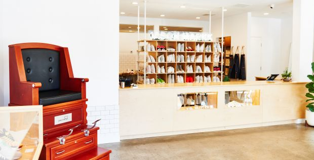Shoe cleaning services in the brand's flagship store in LA