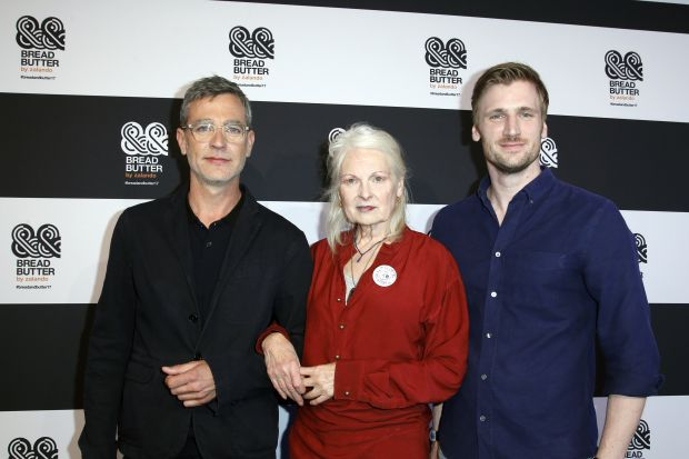 Dame Vivienne Westwood with Carsten Hendrich (l.) and David Schneider (r., both Zalando)