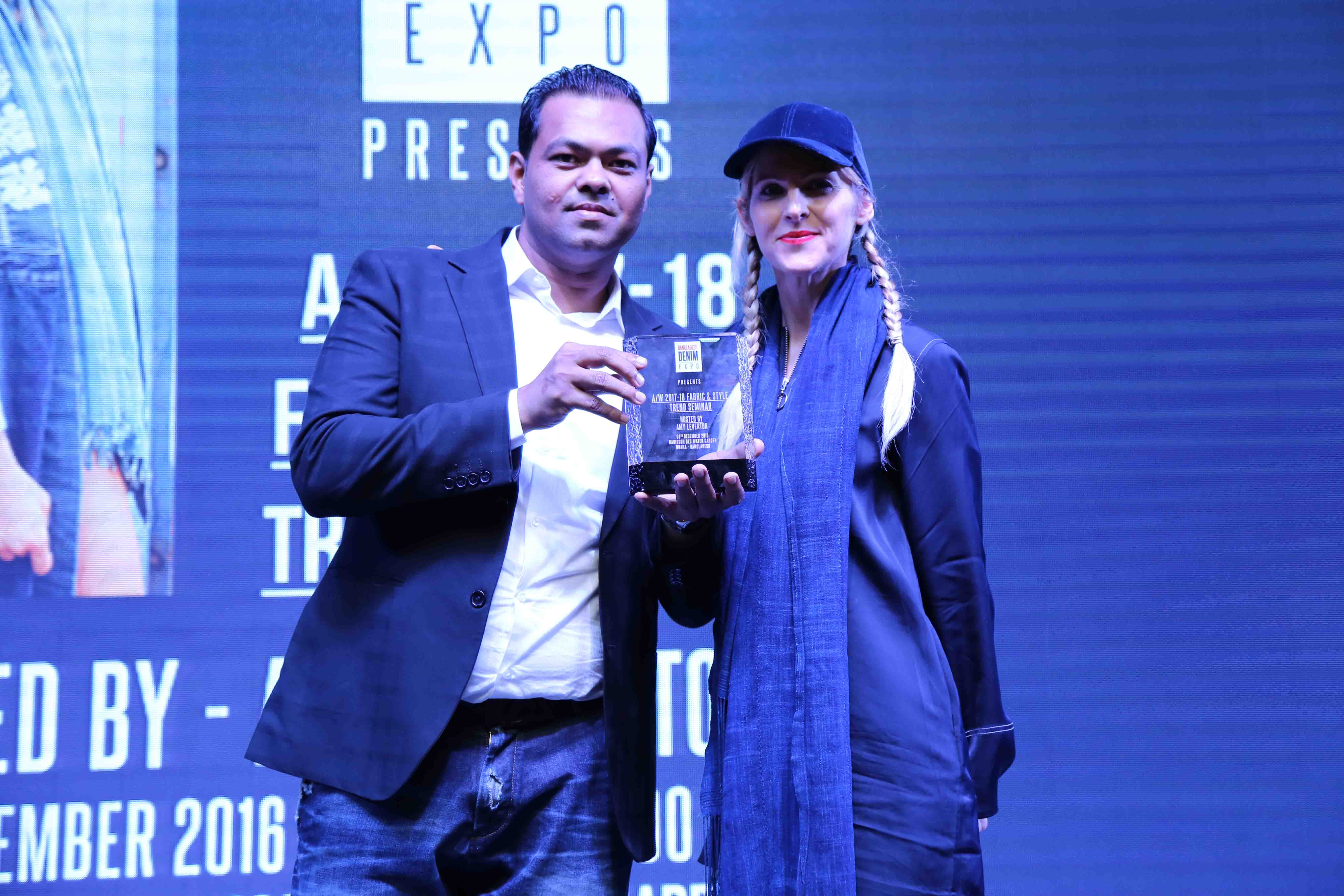M. Uddin and denim connoisseur Amy Leverton, who hosted the fabric & style trend seminar for FW'17 during the first seminar of the Bangladesh Denim Academy.