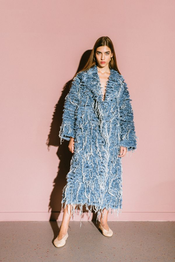 Denim fur, the long coat edition