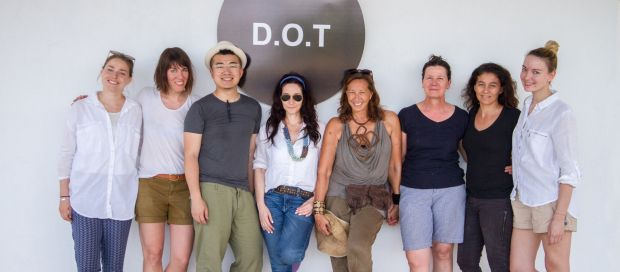 Donna Karan (4th from right), Paula Coles (2nd from right) and the D.O.T. team