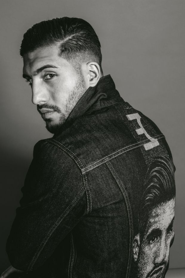Emre Can in his denim jacket which features a lasering of his logo and portrait scribbled by artist Marilena Hamm/Scribblezone.