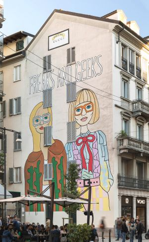 Gucci x Angelica Hicks: wall painting in Milan