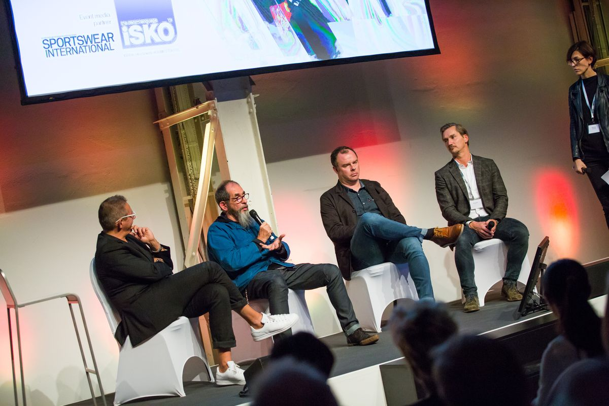 From left to right: Marco Lucietti, François Girbaud, Dirk Lehmann, Markus Hefter and moderator Sabine Kühnl.