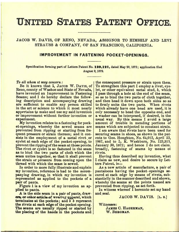 Levi's 501 patent from 20 May, 1873