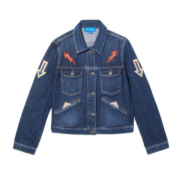 M.i.h Jeans customized jacket with patches.