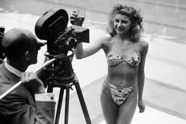 Micheline Bernardini wearing the first bikini in 1946.