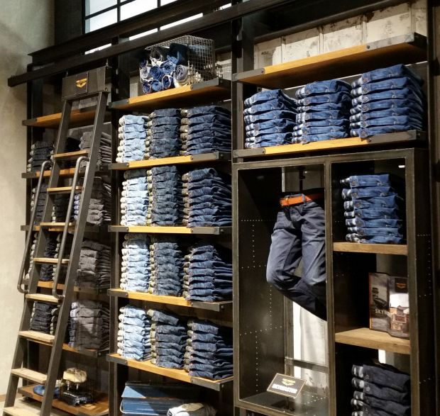Denim wall at the PME Legend store in Oberhausen, Germany.