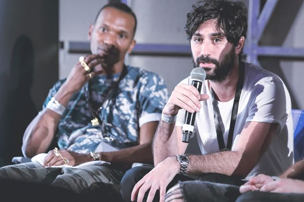 In conversation: Patta founder Edson Sabajo (l.) and Harmony Paris founder David Obadia at Sole DXB 2016