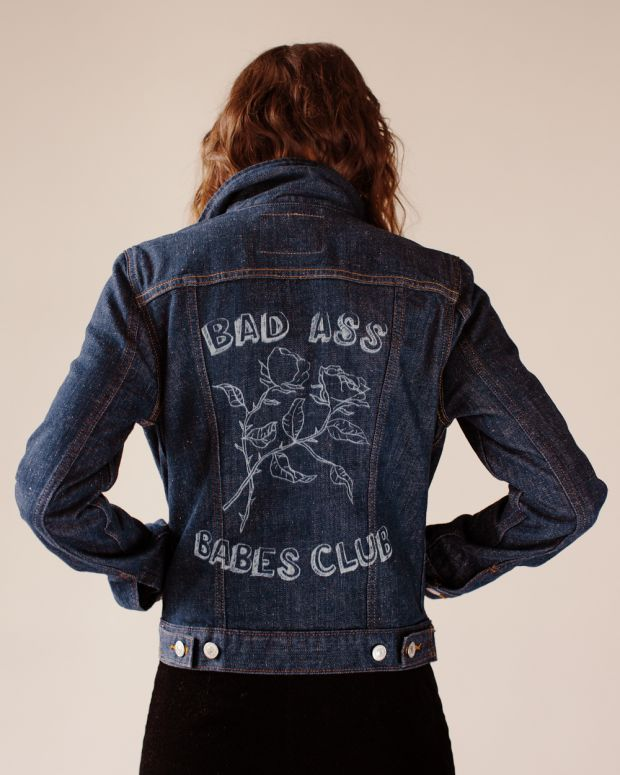 'Bad Ass Babes Club' - Schif drew the design for her denim jacket herself