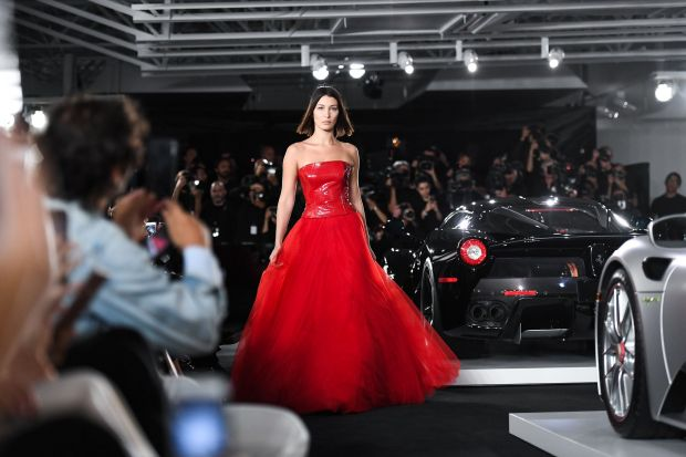 Bella Hadid during Ralph Lauren's latest fashion show inside his private car collection in New York