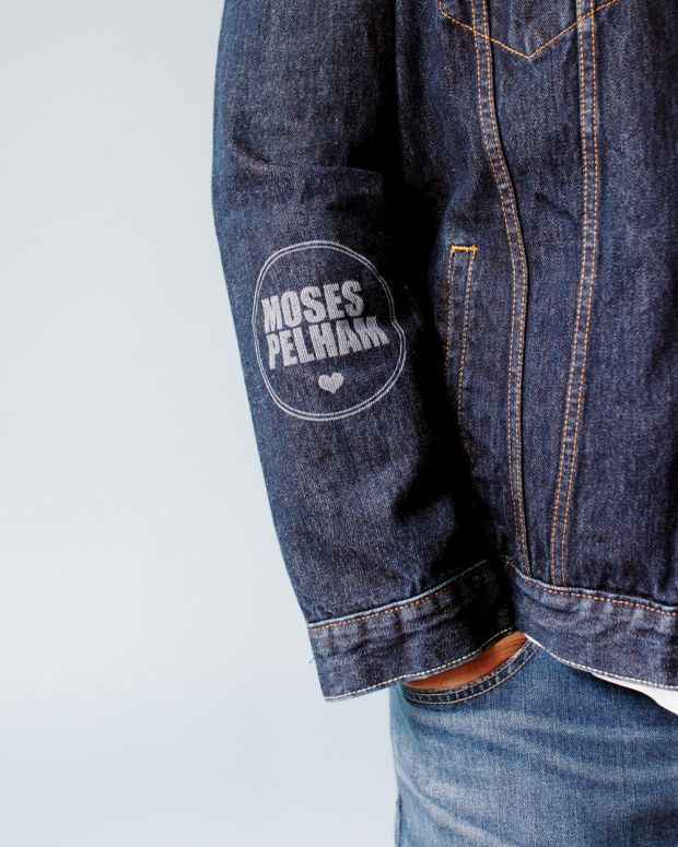 Sleeve lasering on Pelham's customized denim jacket (here in a darker blue version)