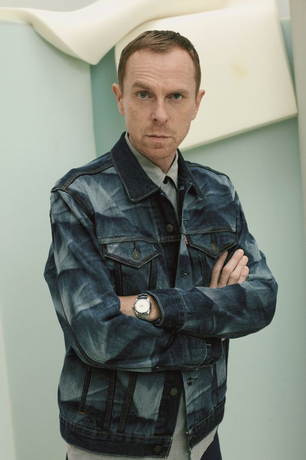 Stephan Schneider in his denim jacket featuring a 3D pattern designed by himself.