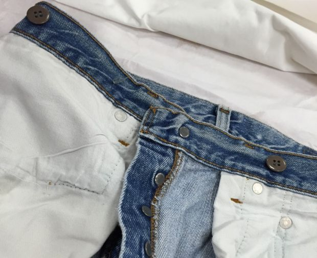 Steve Jobs' jeans with suspender buttons