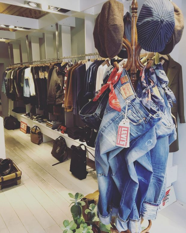 The store focuses on denim brands: Levi's, Tellason, Edwin, among others.