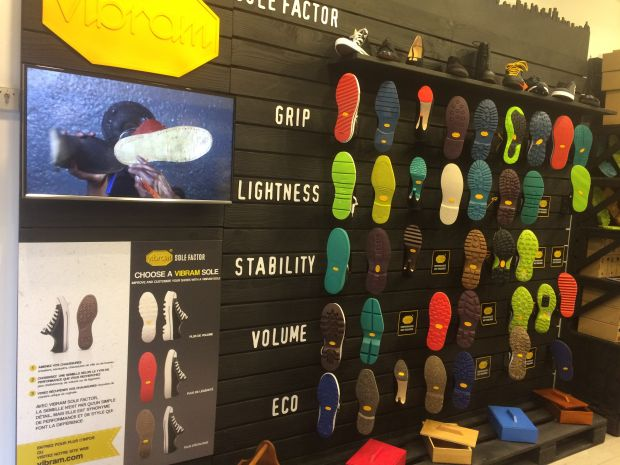 The store offers a wide choice of high performance rubber soles.