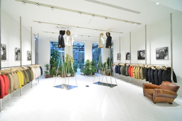 Parkas galore inside the Milan flagship