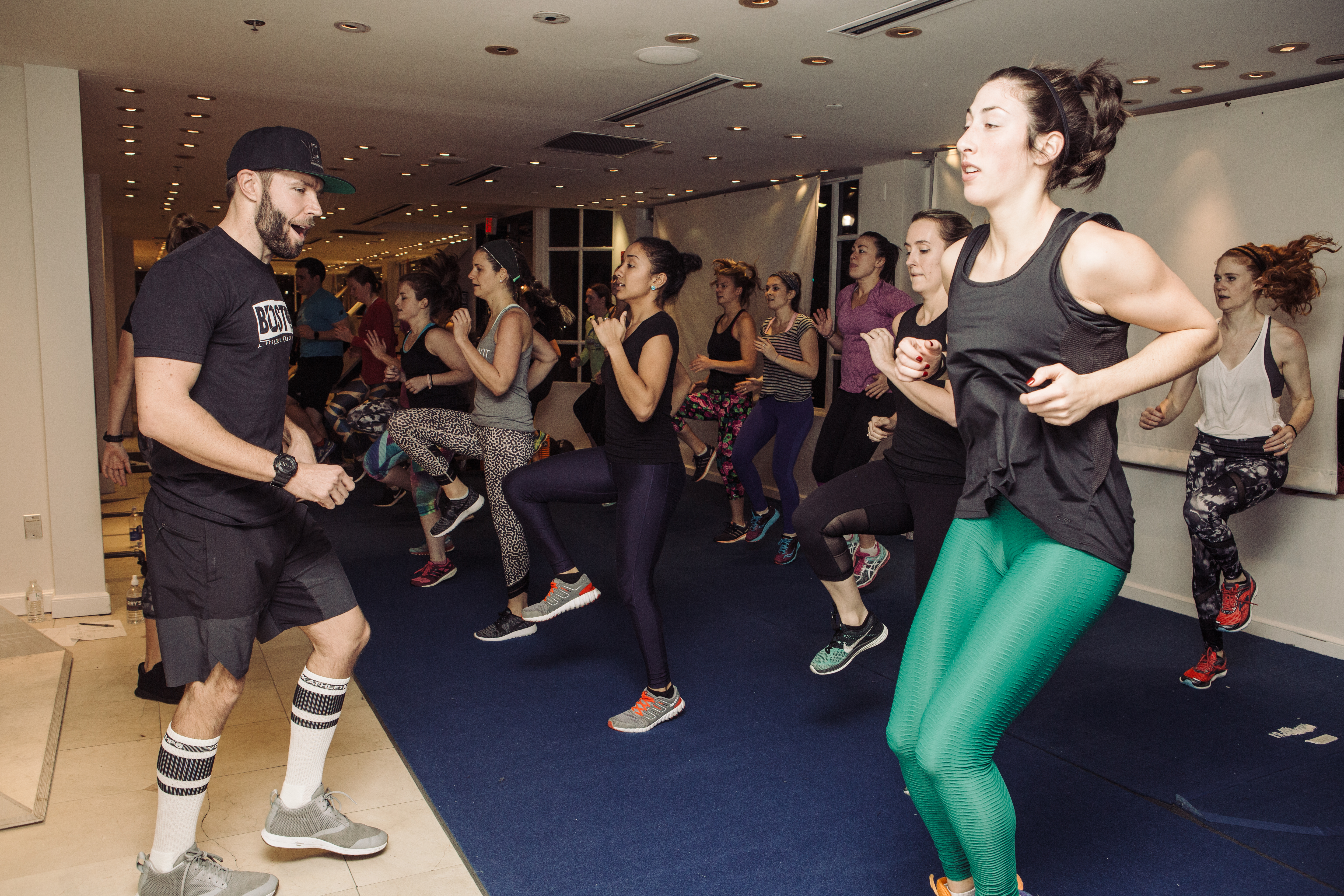 Aerobic class taking place at York Atheltics' pop-up store in Boston last November.