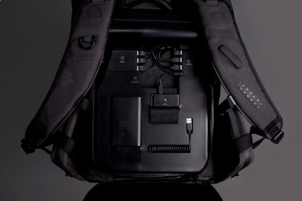 The back of the backpack contains an electronic compartment that holds all electronics in place.