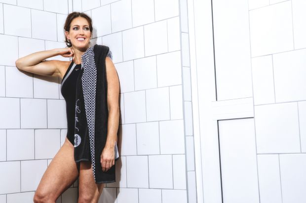 Therese Alshammar wearing a swimsuit of her capsule with Arena