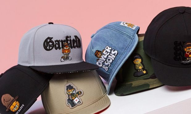 Going for bold graphics: Caps from a recent Garfield x Cayler & Sons capsule