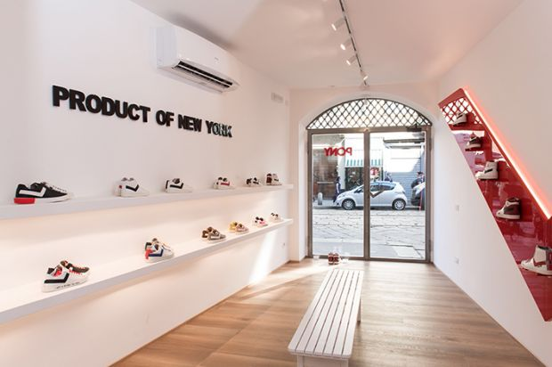 Pony's first flagship store in Milan, on the central street Via Ponte Vetero 15.