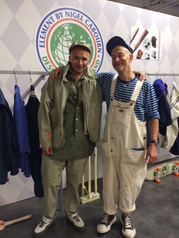 Designer Nigel Cabourn (right) and Daniel P. Werner (fashion business insider) at the Element booth