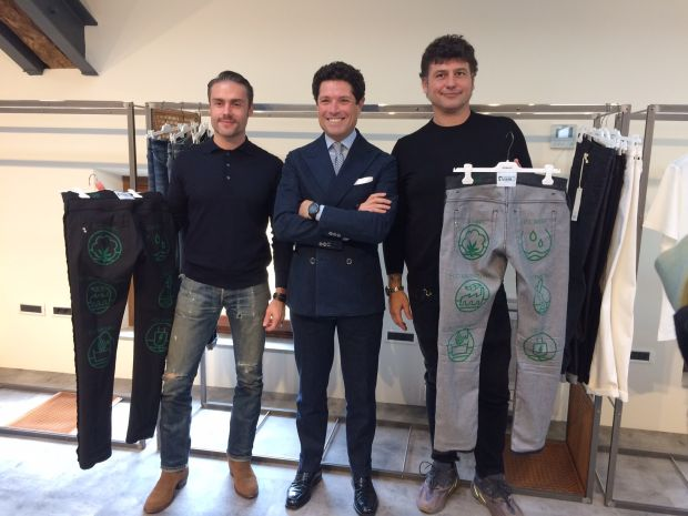 from left: Simon Giuliani (Marketing Director Candiani), Matteo Marzotto (Chairman Dondup), Chicco Barina (Head of Design Dondup)