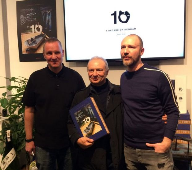 From left: Jason Denham with Gianluigi and Alberto Candiani at the anniversary event