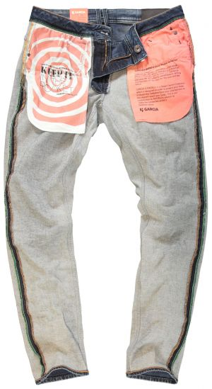 "The pocket lining of the Garcia x Radygo jeans is made of ""silver coated"" nylon and air-permeable cotton."