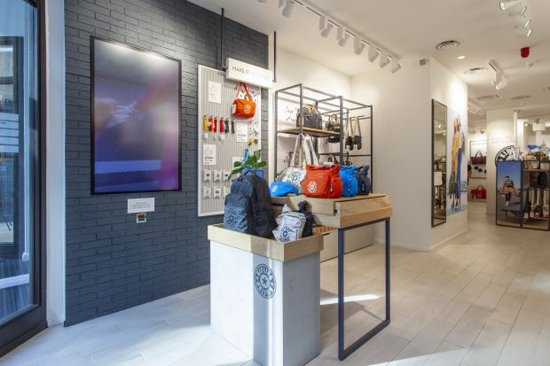 The new Kipling store invites customers to personalize their bags