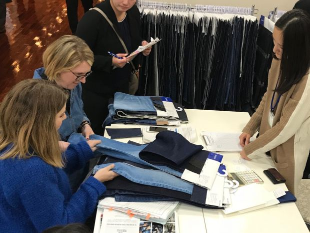 MiH Jeans team working at the mini fabric fair