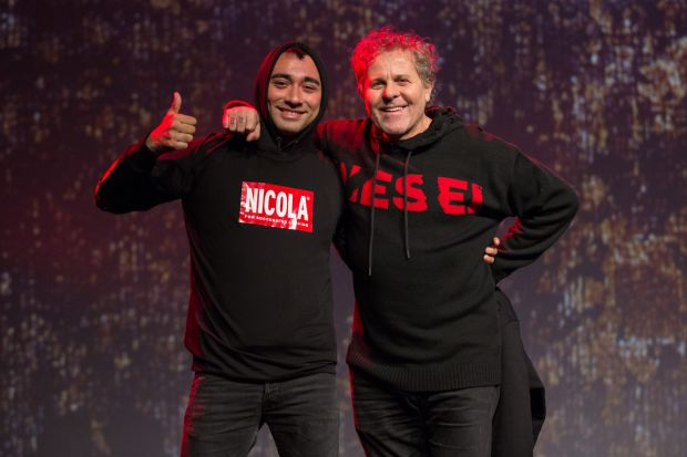 Nicola Formichetti (l.) with Diesel founder Renzo Rosso