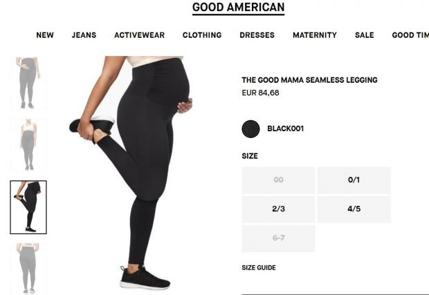 Screenshot: Good American online shop