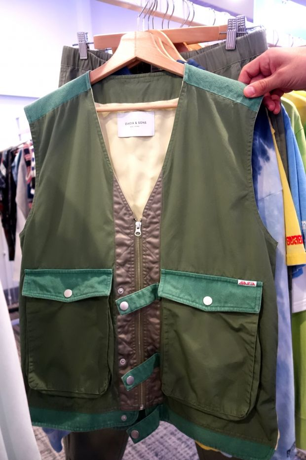 Fashionable versions of fishing- or photographer jackets at Ovadia and Sons' collection