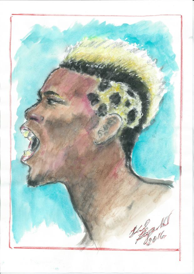 Sketch of Paul Pogba by Karl Lagerfeld