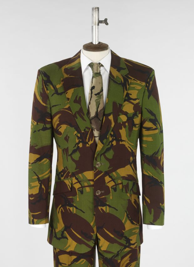 Suit, camouflage printed cotton, designed by Richard James, 1998