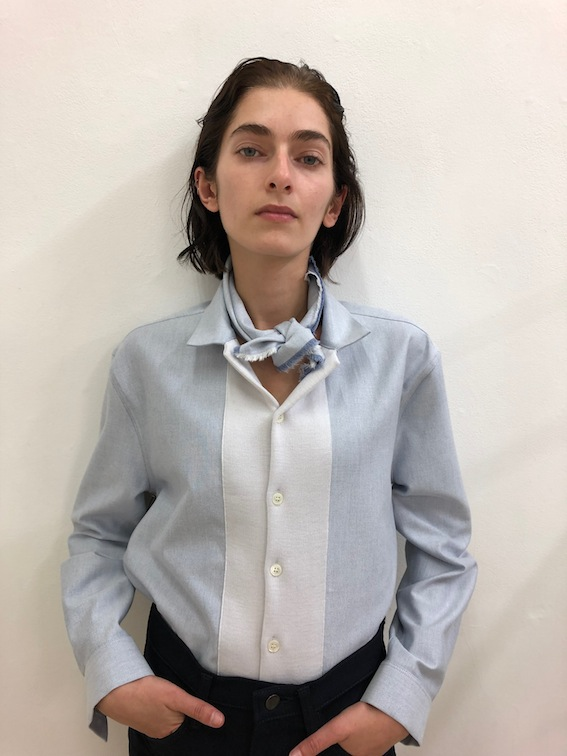 Chambray blouse and bandana by German designer Stephan Schneider