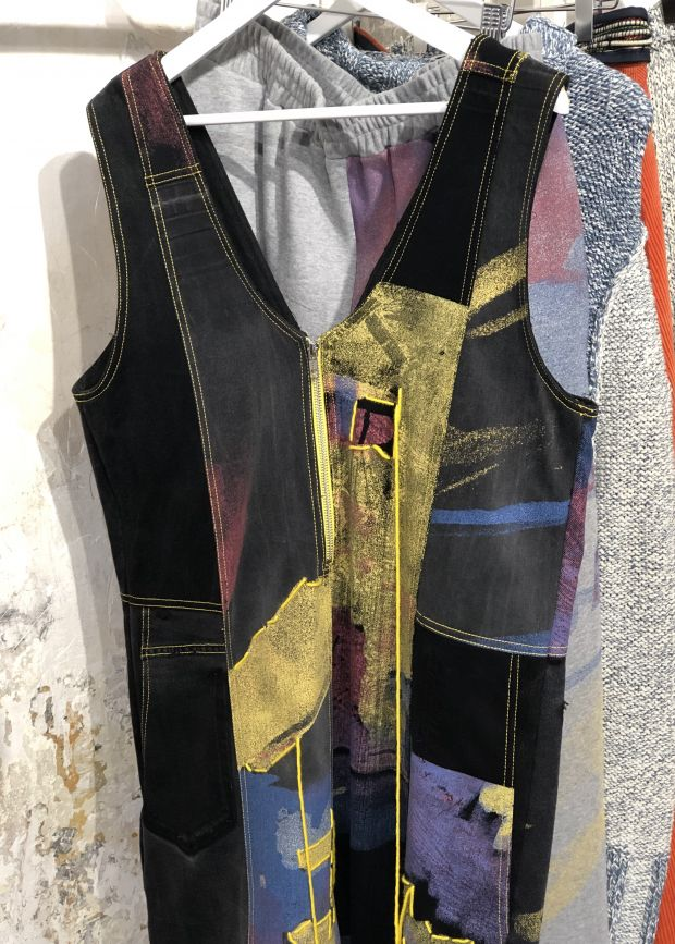Bethany Williams used recycled jeans for this paneled, hand-painted denim jumpsuit