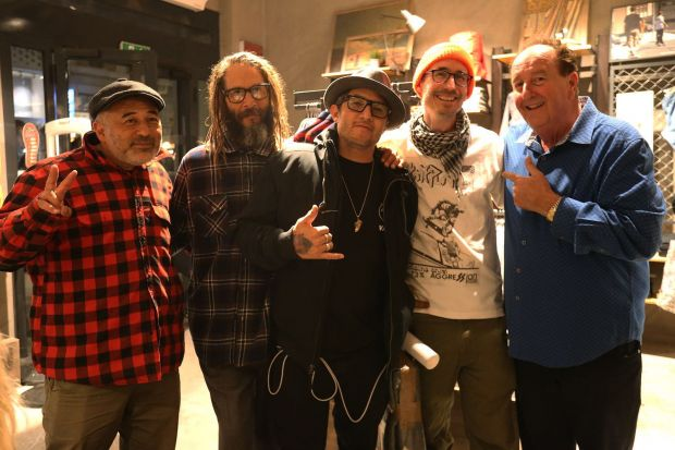 Skate legends at the Milan event (from left): Steve Caballero, Tony Alva, Christian Hosoi, guest, and Vans' Steve Van Doren