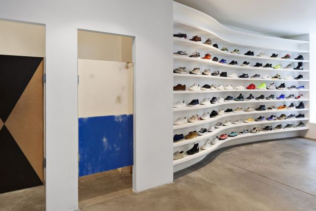 Sneakers to last a lifetime, and a couple of colorful fitting rooms up-close