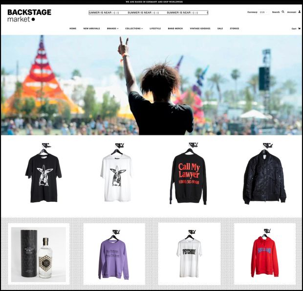 Screenshot of the Backstage Market website